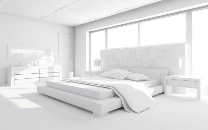 White Bedroom With An Eastern King Standard Size Bed