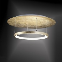 LED Deckenleuchte, rund, Blattgold, dimmbar, D= 60cm ...
