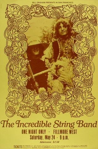 the incredible string band vintage concert poster from fillmore west may 24 1969 at wolfgang s