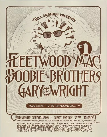 fleetwood mac vintage concert poster from oakland coliseum stadium may 7 1977 at wolfgang s