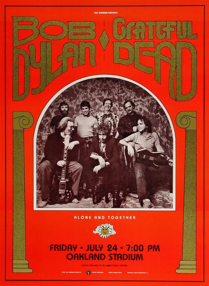 bob dylan vintage concert poster from oakland coliseum stadium jul 24 1987 at wolfgang s