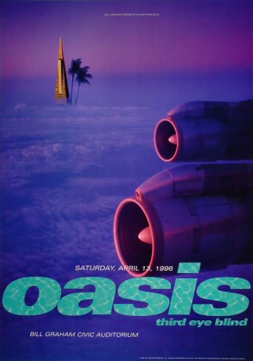 oasis vintage concert poster from bill graham civic auditorium apr 13 1996 at wolfgang s