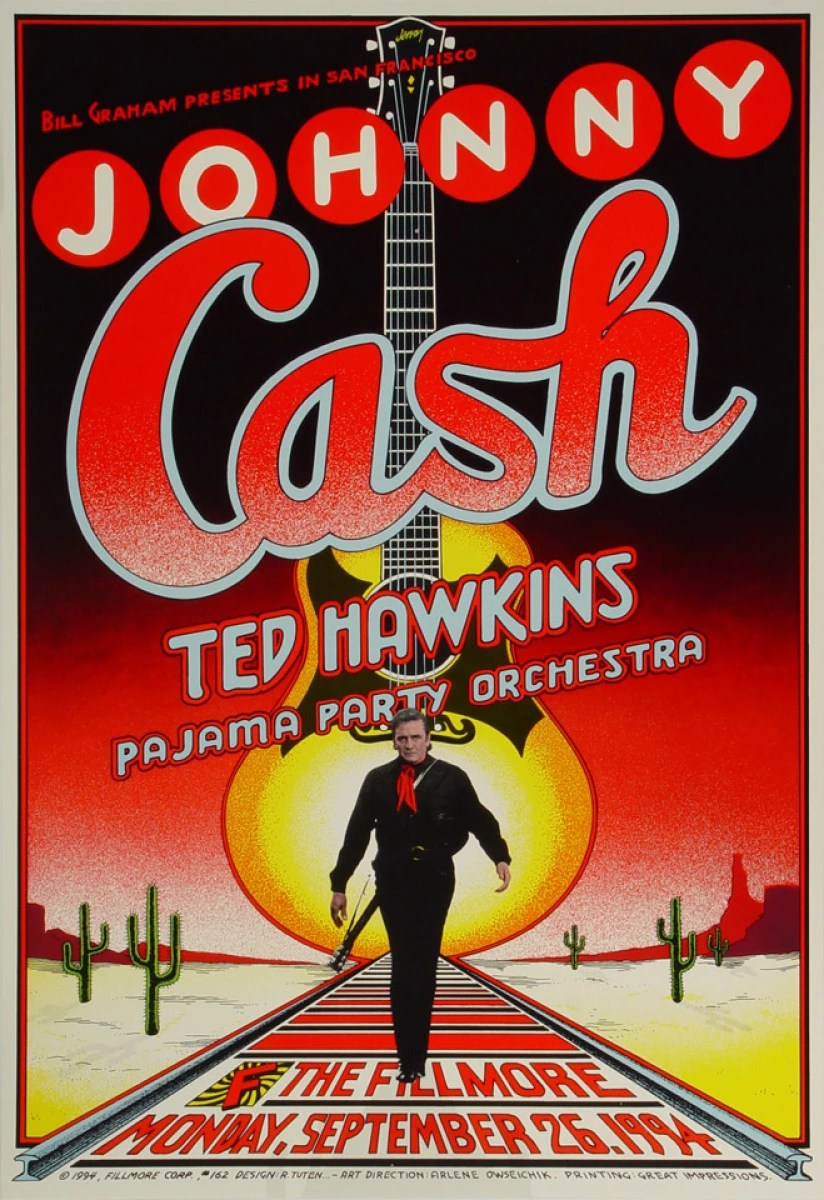 johnny cash vintage concert poster from fillmore auditorium sep 26 1994 at wolfgang s