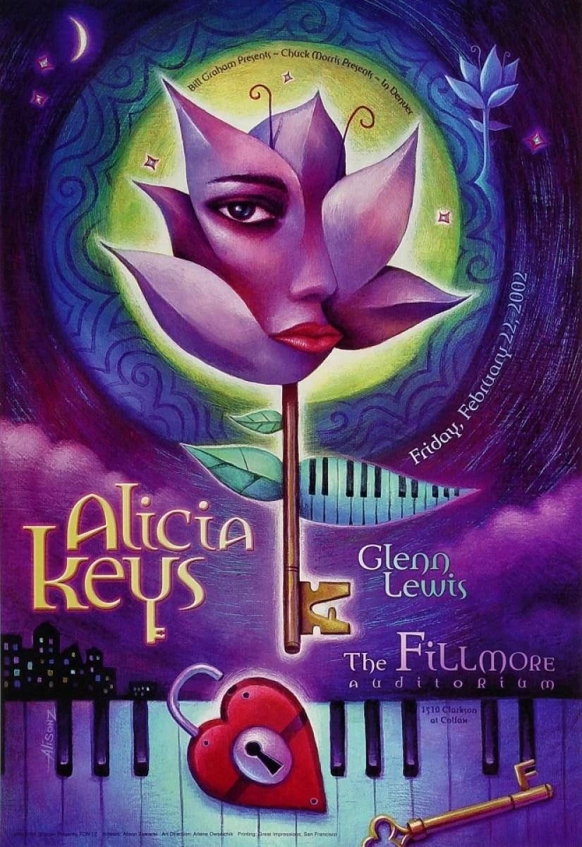 alicia keys vintage concert poster from fillmore denver feb 22 2002 at wolfgang s