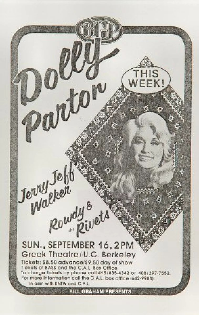 dolly parton vintage concert handbill from greek theatre sep 16 1979 at wolfgang s