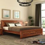 Buy Adolph Bed Without Storage King Size Honey Finish Online In India Wooden Street