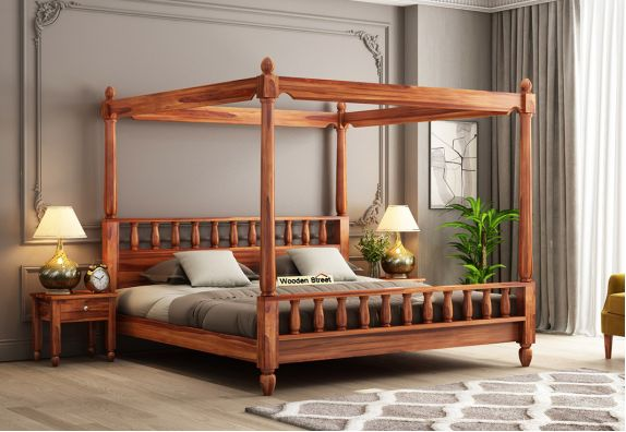 buy wooden four poster bed online