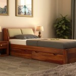 Buy Walken Single Bed With Storage Honey Finish Online In India Wooden Street