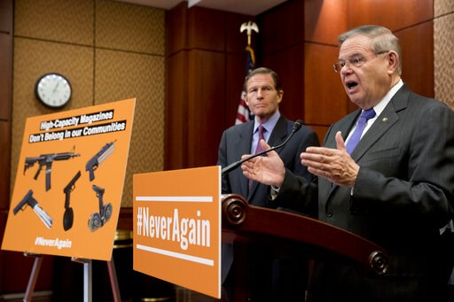 (AP Photo/Andrew Harnik). Sen. Bob Menendez, D-N.J., right, accompanied by Sen. Richard Blumenthal, D-Conn., left, speaks at a news conference on an proposed amendment to ban high capacity magazines in guns, on Capitol Hill, Tuesday, Feb. 12, 2019, in ...