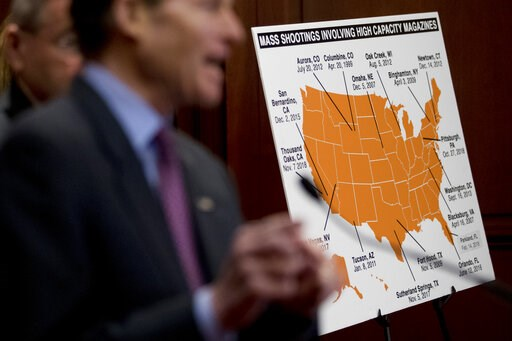 (AP Photo/Andrew Harnik). Sen. Richard Blumenthal, D-Conn., speaks at a news conference on an proposed amendment to ban high capacity magazines in guns, on Capitol Hill, Tuesday, Feb. 12, 2019, in Washington.