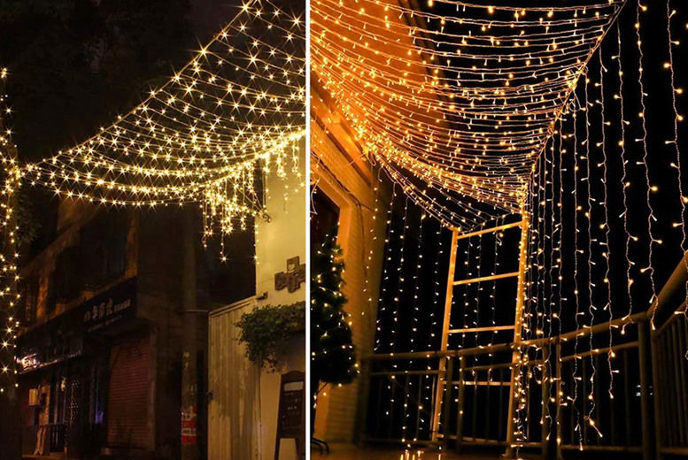 led curtain string lights warm white or multicolour
