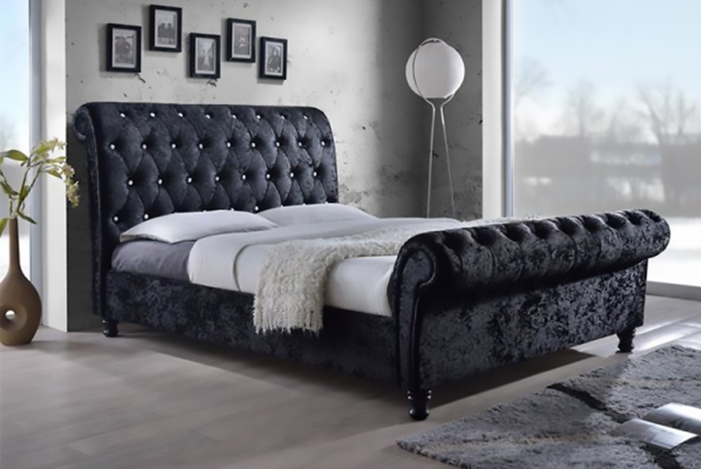 Black Crushed Velvet Bed 2 Sizes Shop Wowcher