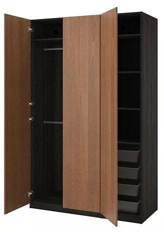 Pax Wardrobe Black Brown Forsand Brown Stained Ash Effect