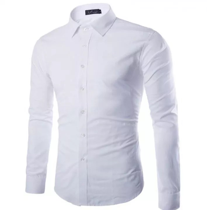 New Off White Shirt Men 2016 Autumn Fashion Solid Color Slim Fit Long Sleeve White M Price From Kilimall In Kenya Yaoota