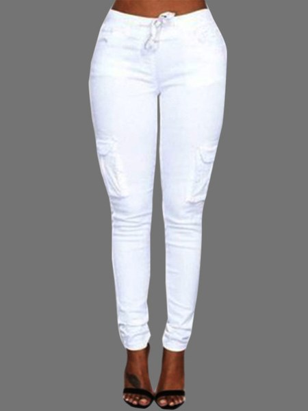 White Drawstring Waist Pockets Design Trousers