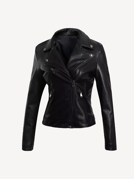 Leather Biker Jacket With Tassel Detail