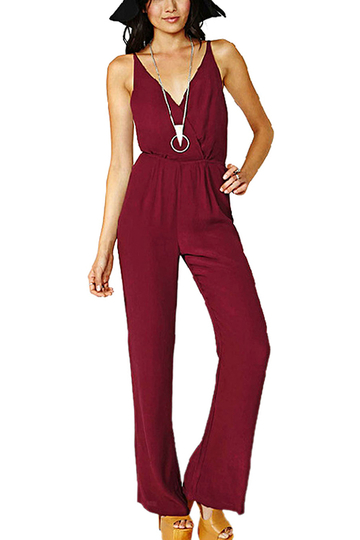 Wine Red Jumpsuit with Open Back