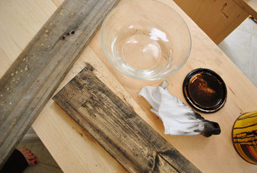 watering down stain and applying to a damp board in order to create a lighter stain effect