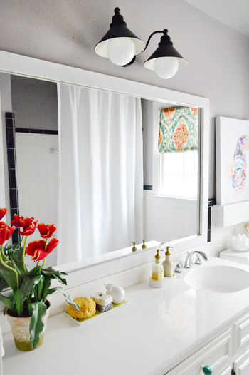 Putting A Dressed Up Frame Around A Plain Builder Mirror Is One Of The  Easiest Ways To Upgrade A Bathroom, Especially If Youu0027re Working With The  Tile And ...