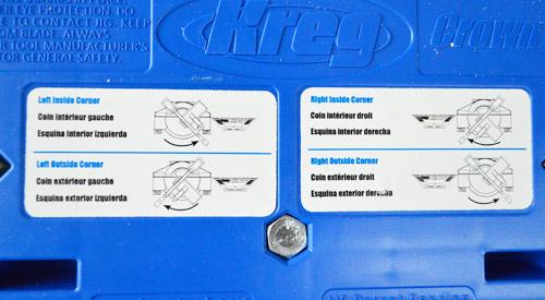 corner diagrams on Kreg Crown Pro molding tool