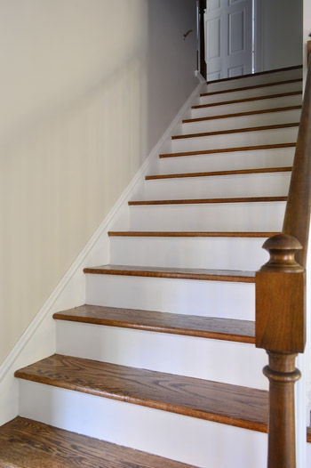 How To Install A Stair Runner Yourself Young House Love | Wood Steps With White Risers | Timber | Wood Stair | Before And After | Color | Stair Tread