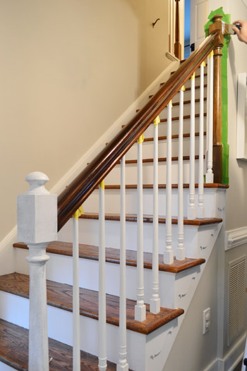 painting wood stair ballasts white