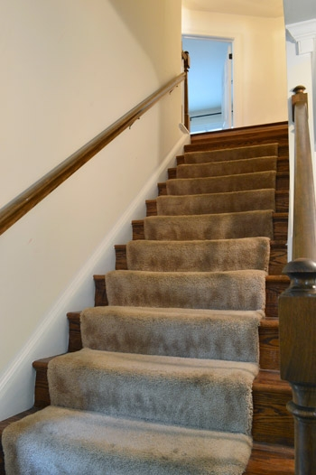 Removing Old Stair Carpet And 600 Staples Young House Love | Stairs With Carpet In The Middle | Runner Corner | Laminate | Contemporary | Run On Stair | Marble