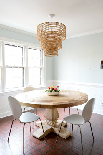 How to replace fluorescent lighting with a pendant fixture young as for how we knew what height to hang it we just googled and read that around 30 32 is standard for a large pendant over a table so we went with 31 mozeypictures