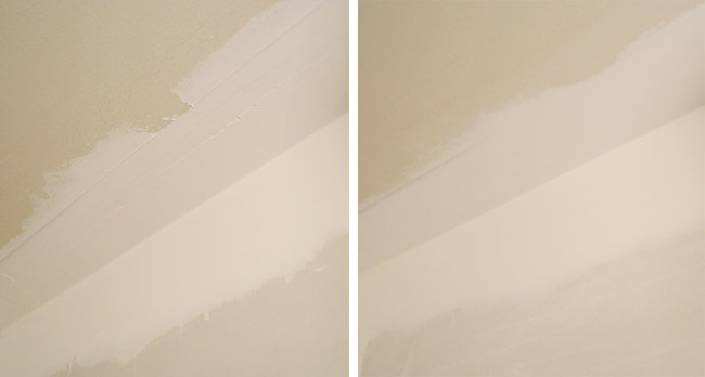 before and after side by side of rough drywall mud sanded smooth