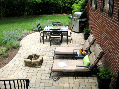 Our $319 Patio Makeover (Complete With Loungers & A Fire ... on Economical Patio Ideas  id=79143