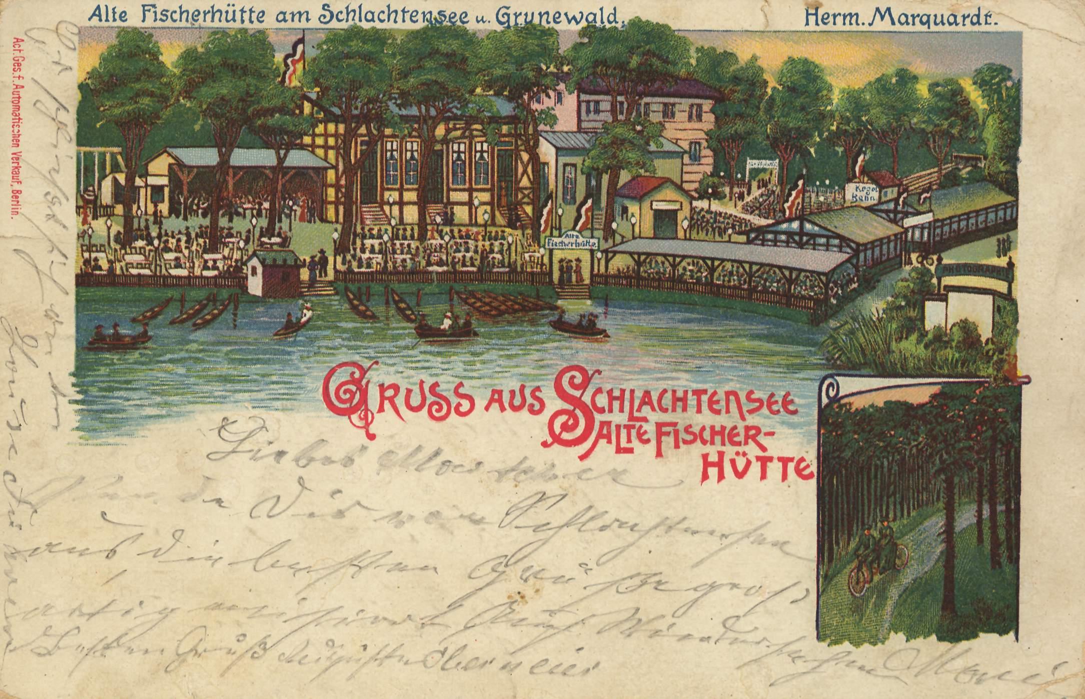 Alte Fischerhütte am Schlachtensee, Ansichtskarte, gelaufen 1899 (Quelle: zeno.org)