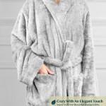 Premium Womens Plush Soft Robe Fuzzy Fluffy Warm Sherpa Fleece Bathrobe Spa Robe Ebay