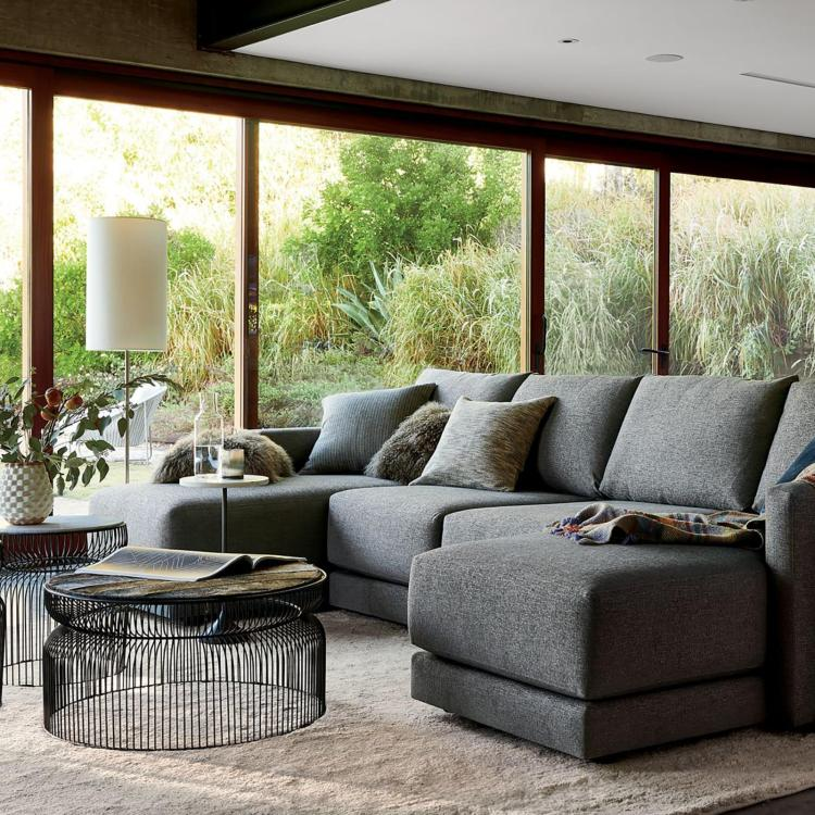 gather 3 piece double chaise sectional