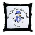 Christmas Snowman Periwinkle Ribbon Throw Pillow