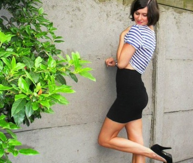 Black Skirt Blue Top Black Shoes