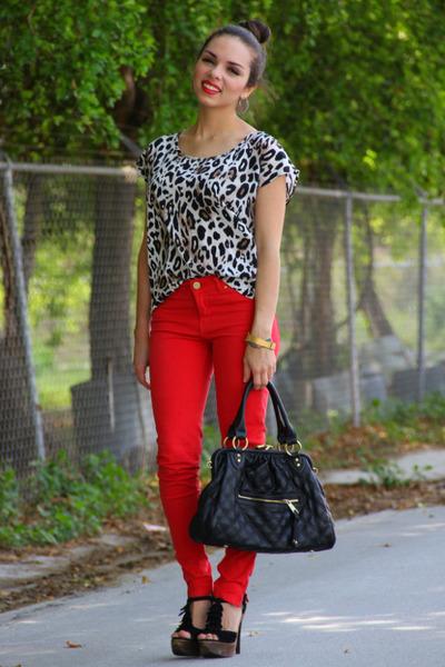 white Forever 21 shirt - bronze Mimi Boutique bag - black Steve Madden heels - b