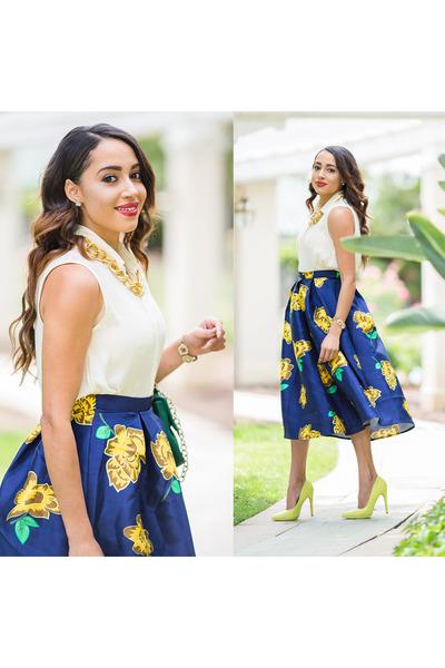 Sheinside skirt - Charlotte Russe shoes - JCrew shirt - JustFab bag