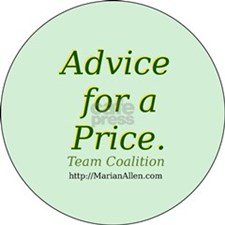 button saying Advice for a Price. Team Coalition