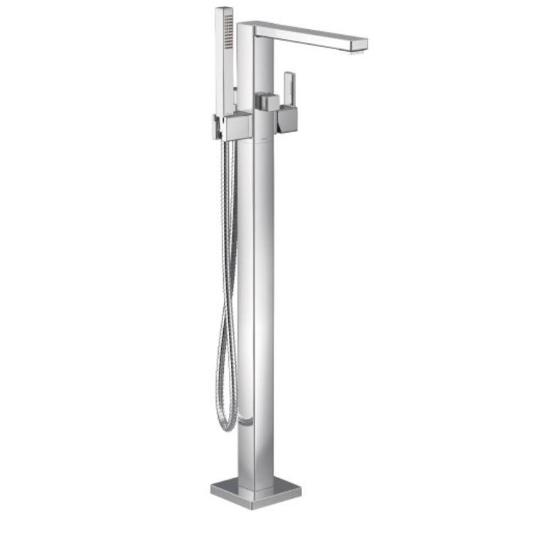 moen s905 90 degree floor mount tub filler with hand shower chrome 1 75gpm