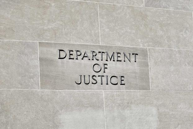Sign on Department of Justice HQ Building