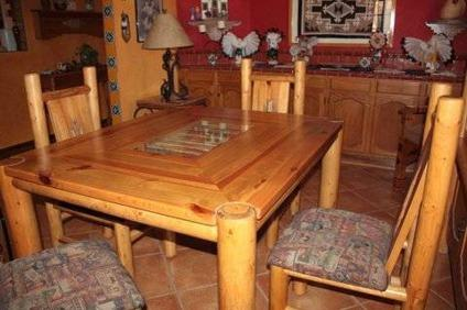 Unique Southwestern Lodgepole Pine Dining Table And 4