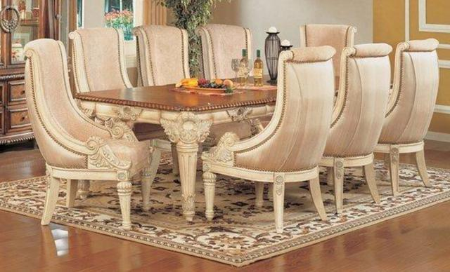 Antique Crackle White Wash Finish 9 Piece Dining Table Set