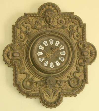 Antique French Wall Clock Farcot Movement With Putti Or Angel Faces For Sale In Lower Makefield