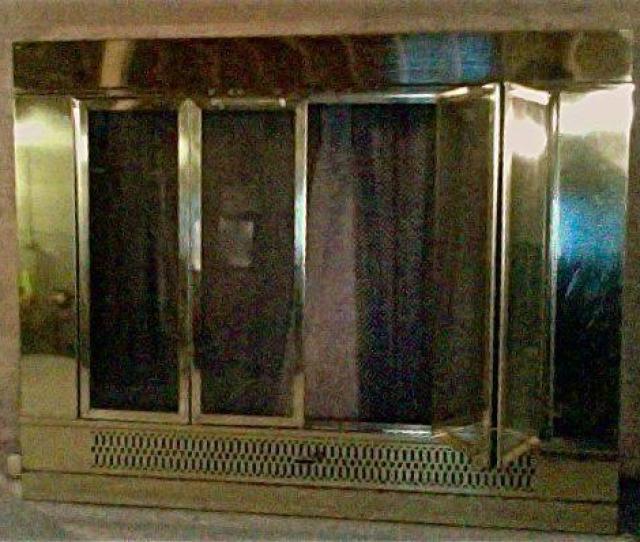 Brass Fireplace Screen Insert With Glass Doors