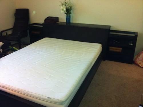 IKEA Queen BedMattressHeadboard And Bed Shelf Set