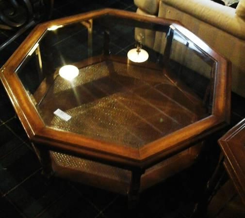 Octagon Wooden And Glass Coffee Table And End Table For
