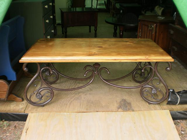 Solid Wood And Iron Living Room Set Coffee Table And 2 End