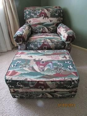 Unique Horse Design Lexington Furniture Overstuffed Chair And Ottoman For Sale In Mount Sterling