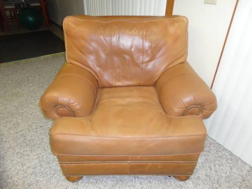 Used Top Grain Aniline Leather Overstuffed Chair WOttoman