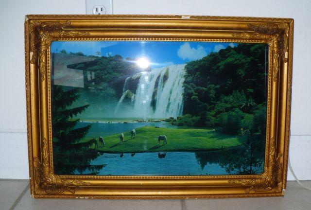 VINTAGE FRAMED MOVING WATERFALL LIGHTED MOTION PICTURE